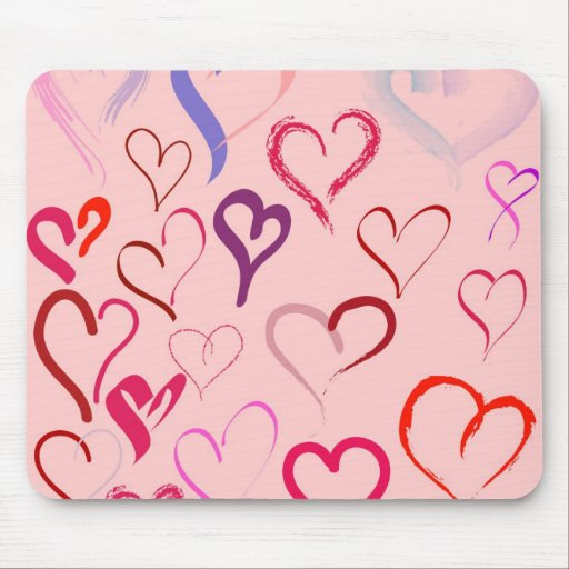 hearts doodles mouse pad
