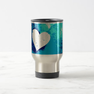 Hearts - Electric Blue ! 15 Oz Stainless Steel Travel Mug