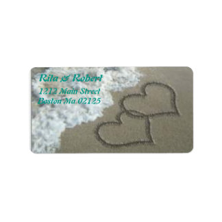 Hearts Engraved in Sand Ocean Labels/Wedding Label