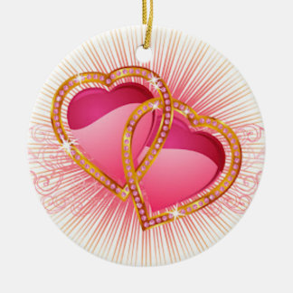 Hearts Entwined Ceramic Ornament