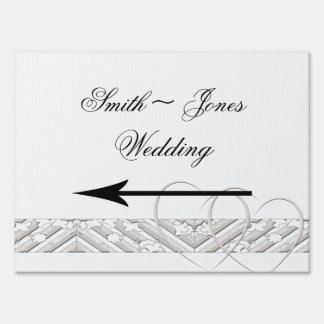 Hearts Entwined with Floral Border Direction Sign