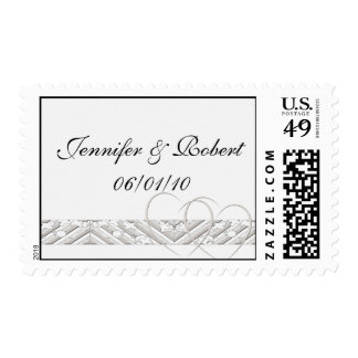 Hearts Entwined with Floral Border in White Silver Postage
