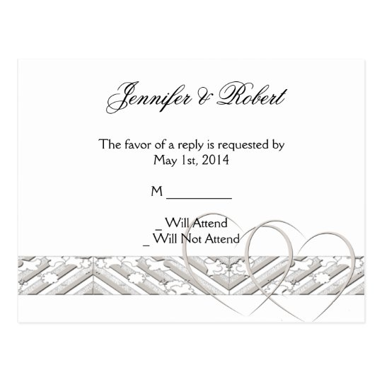 Hearts Entwined with Floral Border RSVP Postcard