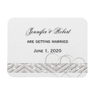 Hearts Entwined with Floral Border Save the Date Rectangular Photo Magnet