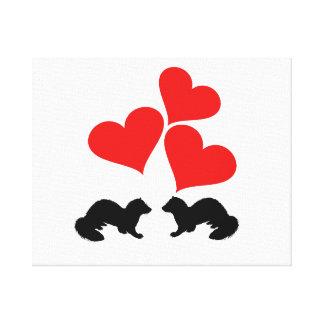 Hearts & Ferrets Canvas Print