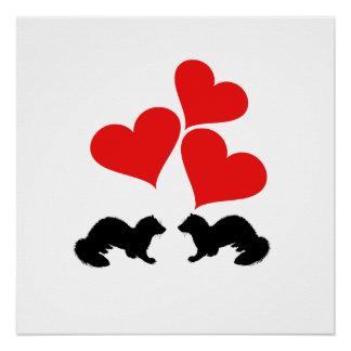 Hearts & Ferrets Poster