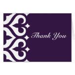 Hearts & Fleur de Lis Thank You Card - Plum