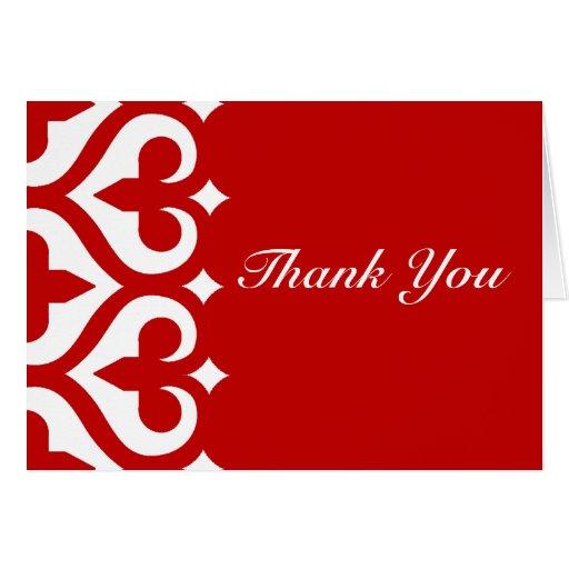 Hearts & Fleur de Lis Thank You Card - Red