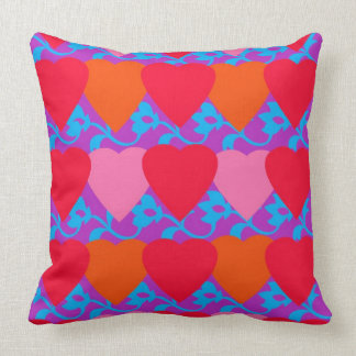 Hearts & Flower Design Throw Pillow