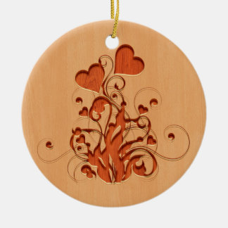 Hearts flower engraved on wood design ceramic ornament