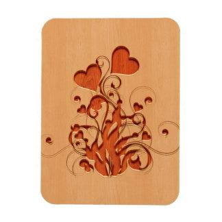 Hearts flower engraved on wood design rectangular photo magnet