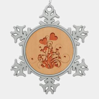 Hearts flower engraved on wood design snowflake pewter christmas ornament