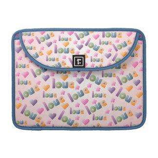 Hearts Flowers and Love Macbook Flap Sleeve MacBook Pro Sleeve