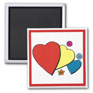 Hearts Flowers - Magnets