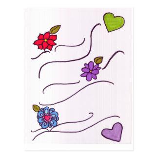 Hearts & Flowers Postcard