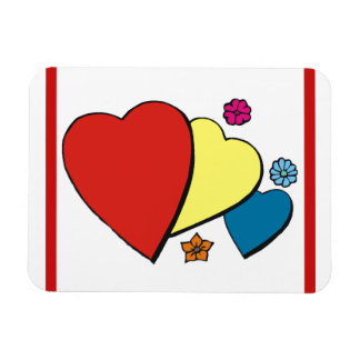 Hearts Flowers - Rectangle Magnets