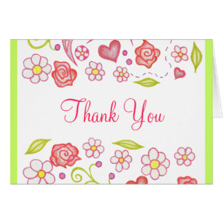 Hearts Flowers Thank You Card