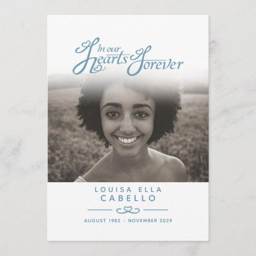 Hearts forever funeral service program blue grey