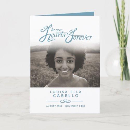 Hearts forever funeral service program blue white