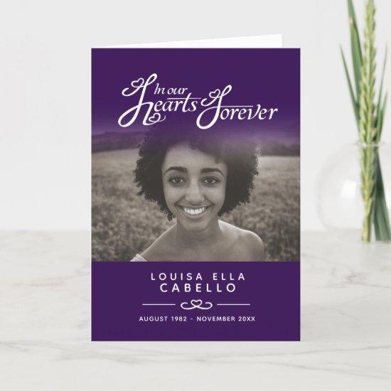 Hearts forever funeral service program purple
