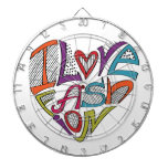 """Hearts from words """"I love fashion"""" Dartboard With Darts"""
