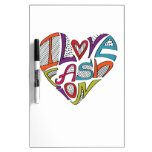 """Hearts from words """"I love fashion"""" Dry-Erase Boards"""