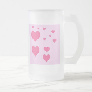 hearts frosted glass beer mug