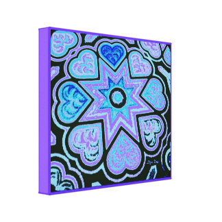 'Hearts Full of Love' Panel Print (Brights) (Blue) Stretched Canvas Prints