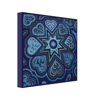 'Hearts Full of Love' Panel Prnt (Rustics) (Blue) Gallery Wrapped Canvas