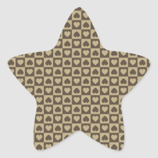 Hearts Galore Brown and Tan Star Sticker