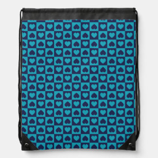 Hearts Galore Navy and Turquoise Drawstring Bag