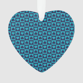 Hearts Galore Navy and Turquoise Ornament