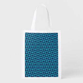 Hearts Galore Navy and Turquoise Reusable Grocery Bag