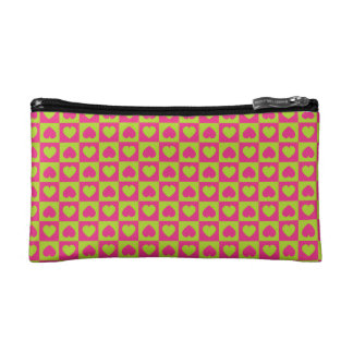 Hearts Galore Pink and Green Cosmetic Bags