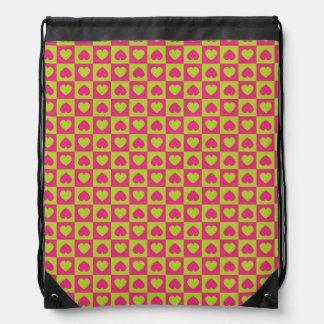 Hearts Galore Pink and Green Drawstring Backpacks