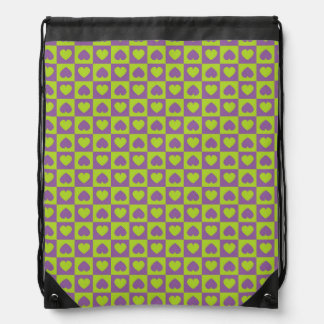Hearts Galore Purple and Lime Drawstring Backpacks