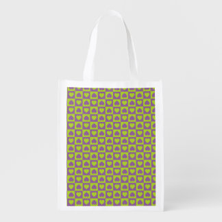 Hearts Galore Purple and Lime Market Tote