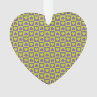 Hearts Galore Purple and Lime Ornament