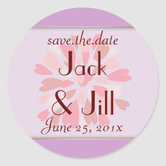 Hearts Galore WEDDING Save The Date Classic Round Sticker