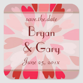 Hearts Galore WEDDING Save The Date Square Sticker