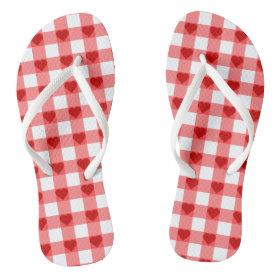 Hearts Gingham Flip Flops