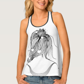 Hearts Girl Hairstyle Tank Top