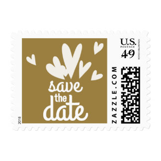 Hearts Gold Save the Date Postage