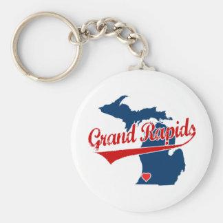 Hearts Grand Rapids Michigan Basic Round Button Keychain