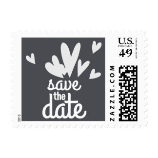 Hearts Grey Save the Date Postage