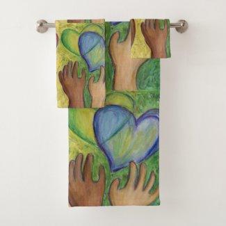 Hearts & Hands Diversity Love Art Towel