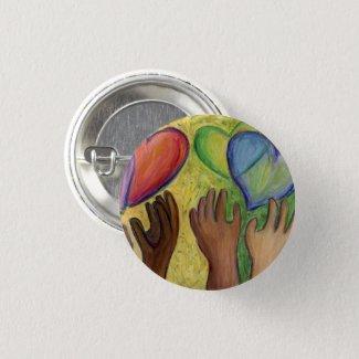Hearts & Hands Diversity Love Button or Lapel Pins