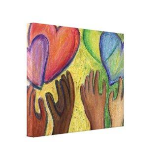 Hearts & Hands Diversity Painting Canvas Art Print