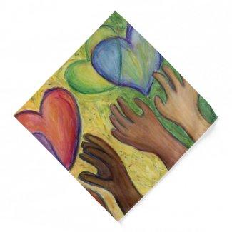 Hearts & Hands Love Diversity Art Custom Bandanas