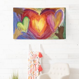Hearts & Hands Love Diversity Art Custom Banner